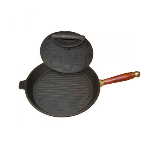 Комплект сковорода с крышкой грузом(цыпленок табака) с деревянной ручкой